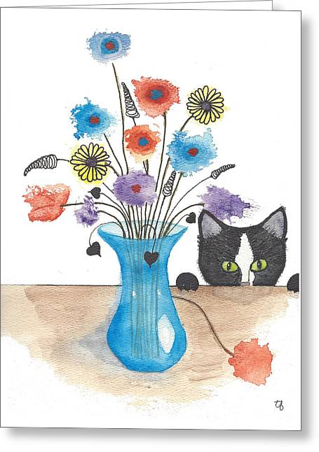 Bad Kitty Greeting Card by Terry Fleckney