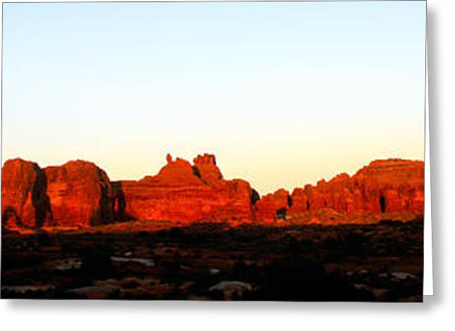 The Plateaus Greeting Cards -  Balanced Rock Panorama Greeting Card by Tracy Knauer