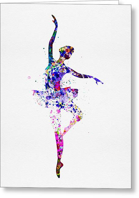Dancing Girl Greeting Cards -  Ballerina Dancing Watercolor 2 Greeting Card by Naxart Studio