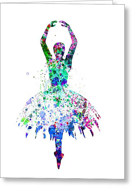 Ballet Art Greeting Cards -  Ballerina Dancing Watercolor 4 Greeting Card by Naxart Studio