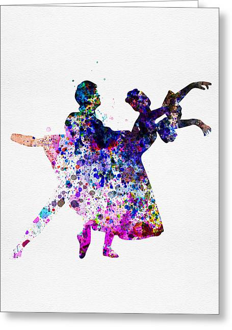 Ballet Art Greeting Cards -  Ballet Dancers Watercolor 1 Greeting Card by Naxart Studio