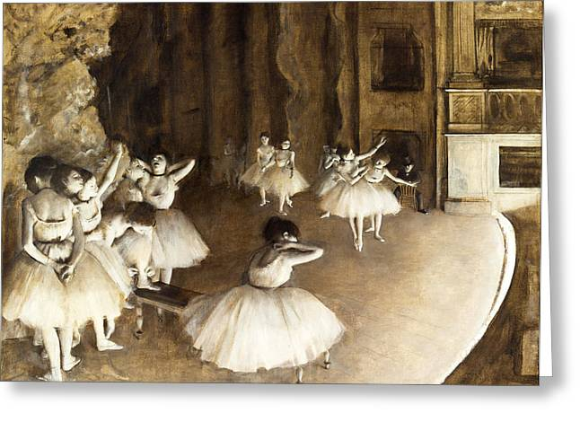 1874 Greeting Cards -  Ballet Rehearsal on Stage Greeting Card by Edgar Degas