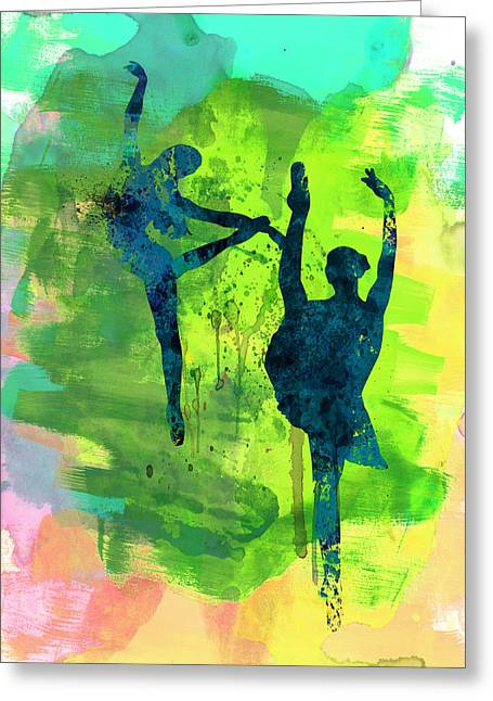 Dancing Girl Greeting Cards -  Ballet Watercolor 1 Greeting Card by Naxart Studio
