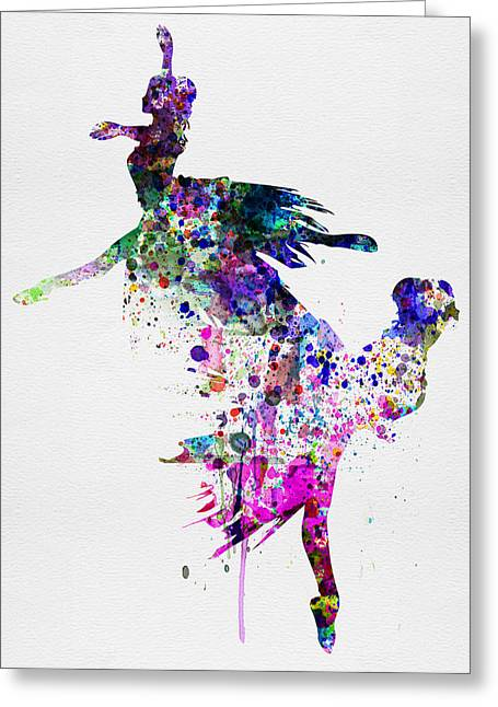 Dancing Girl Greeting Cards -  Ballet Watercolor 3 Greeting Card by Naxart Studio