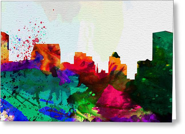 Architectural Paintings Greeting Cards -  Baltimore City Skyline Greeting Card by Naxart Studio
