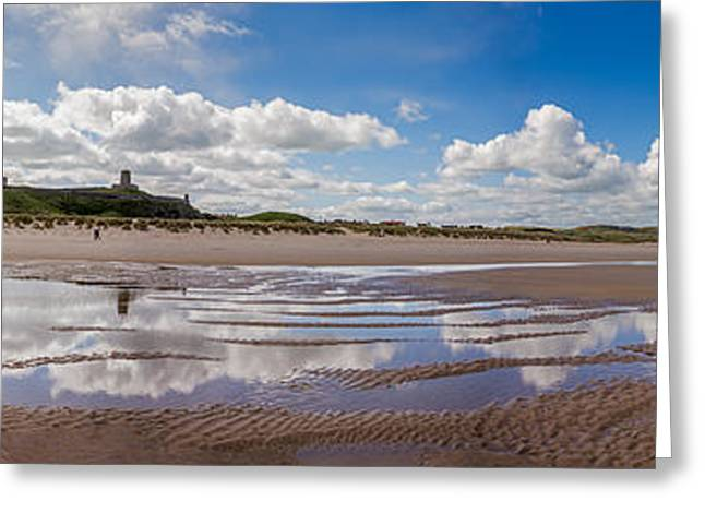 Sand Castles Greeting Cards -  Bamburgh Castle Panorama Greeting Card by Bahadir Yeniceri