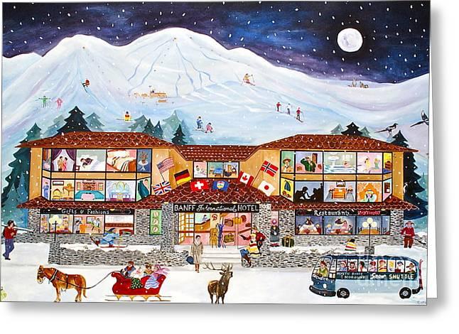 Banff International Hotel Alberta Canada Greeting Card by Virginia Ann Hemingson