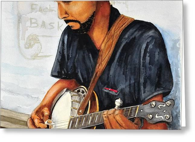 Banjo Player Greeting Card by John W Walker