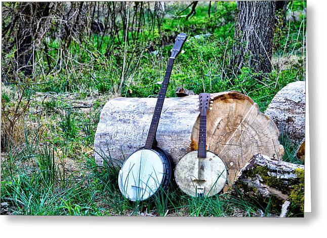 Woodpile Greeting Cards -  Banjos at the Woodpile Greeting Card by Bill Cannon