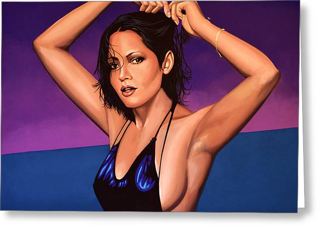 Golden Globe Greeting Cards -  Barbara Carrera Greeting Card by Paul  Meijering