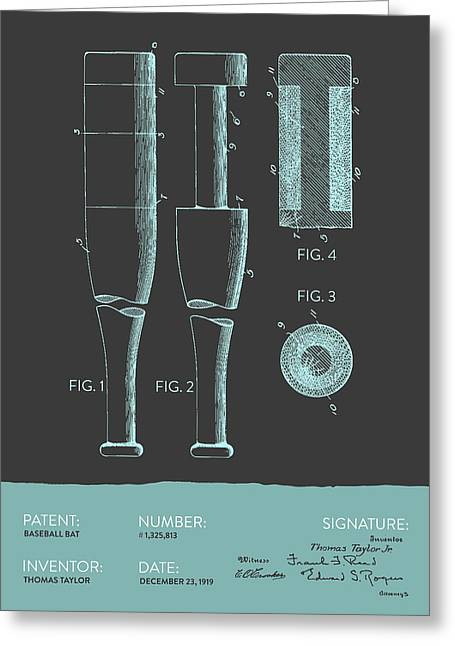 Glove Greeting Cards -  Baseball Bat Patent from 1919 - Gray Blue Greeting Card by Aged Pixel