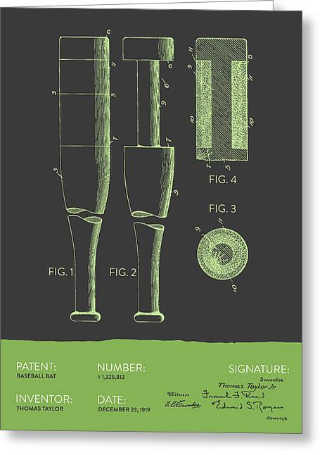 Baseball Glove Greeting Cards -  Baseball Bat Patent from 1919 - Gray Green Greeting Card by Aged Pixel