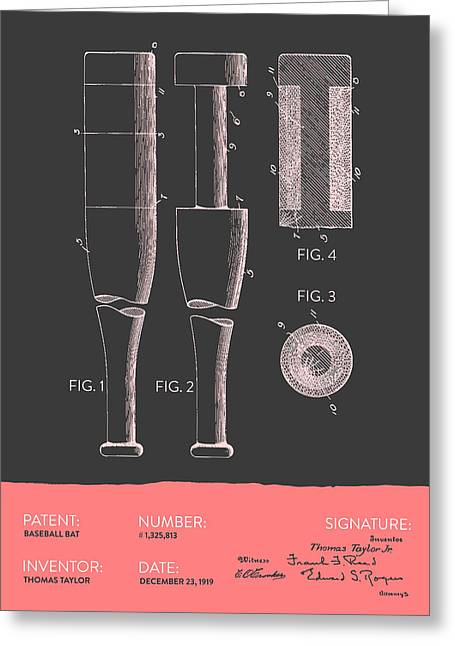 Baseball Glove Greeting Cards -  Baseball Bat Patent from 1919 - Gray Salmon Greeting Card by Aged Pixel