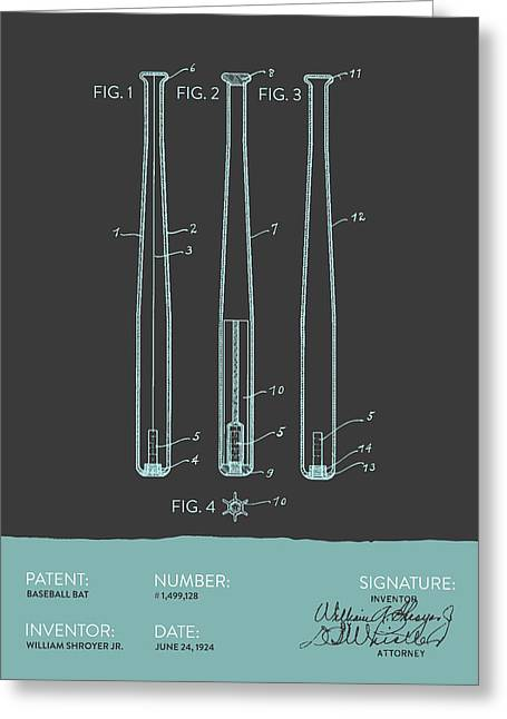 Baseball Bat Patent From 1924 - Gray Blue Greeting Card by Aged Pixel