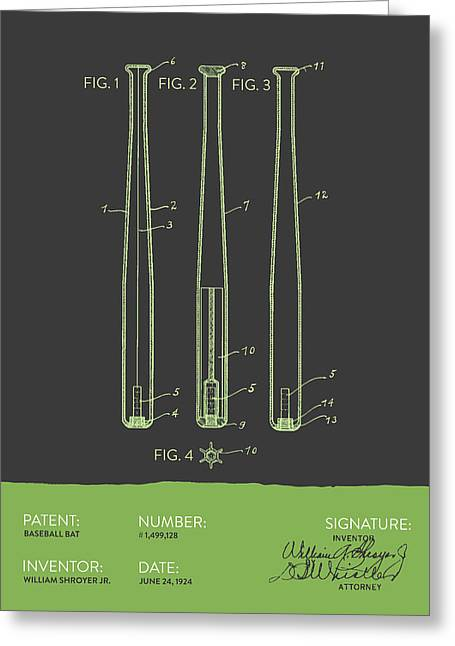Baseball Bat Greeting Cards -  Baseball Bat Patent from 1924 - Gray Green Greeting Card by Aged Pixel