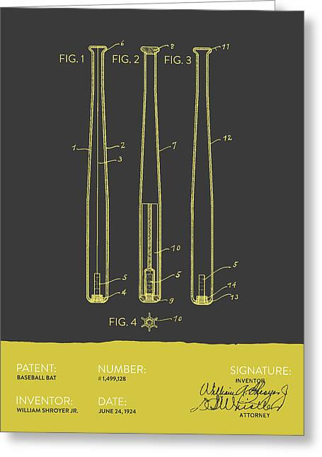 Baseball Glove Greeting Cards -  Baseball Bat Patent from 1924 - Gray Yellow Greeting Card by Aged Pixel