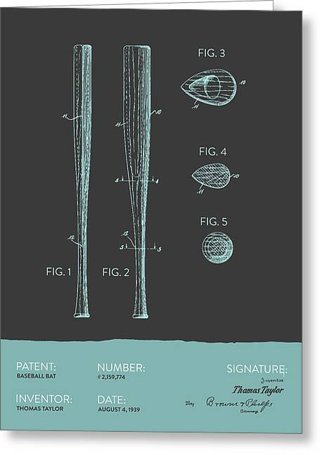 Baseball Glove Greeting Cards -  Baseball Bat Patent from 1939 - Gray Blue Greeting Card by Aged Pixel