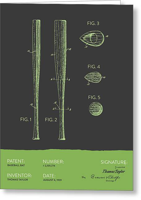 Baseball Glove Greeting Cards -  Baseball Bat Patent from 1939 - Gray Green Greeting Card by Aged Pixel