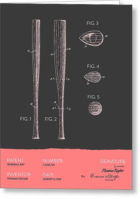 Baseball Glove Greeting Cards -  Baseball Bat Patent from 1939 - Gray Salmon Greeting Card by Aged Pixel