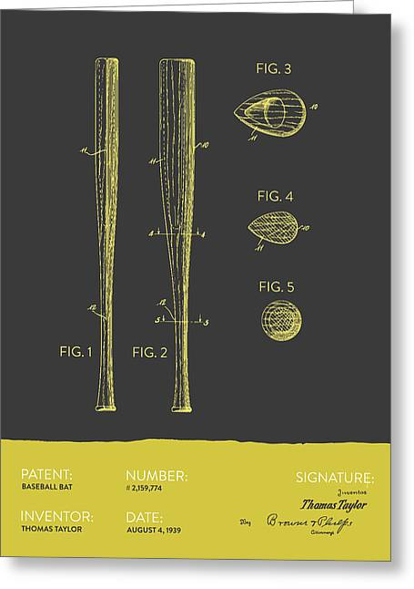 Baseball Glove Greeting Cards -  Baseball Bat Patent from 1939 - Gray Yellow Greeting Card by Aged Pixel