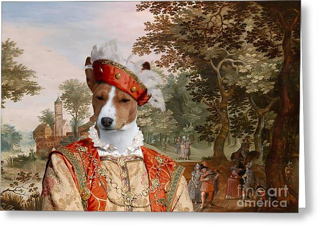 Dog Prints Greeting Cards -  Basenji Art Canvas Print Greeting Card by Sandra Sij