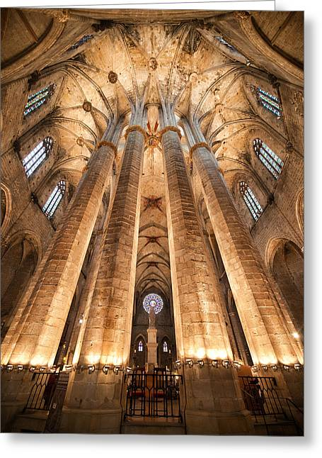 Unique Sights Greeting Cards -  Basilica of Santa Maria del Mar in Barcelona Greeting Card by Artur Bogacki
