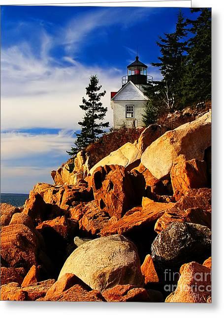 Bass Head Lighthouse Greeting Cards -  Bass Harbor Lighthouse Maine Greeting Card by Nick Zelinsky