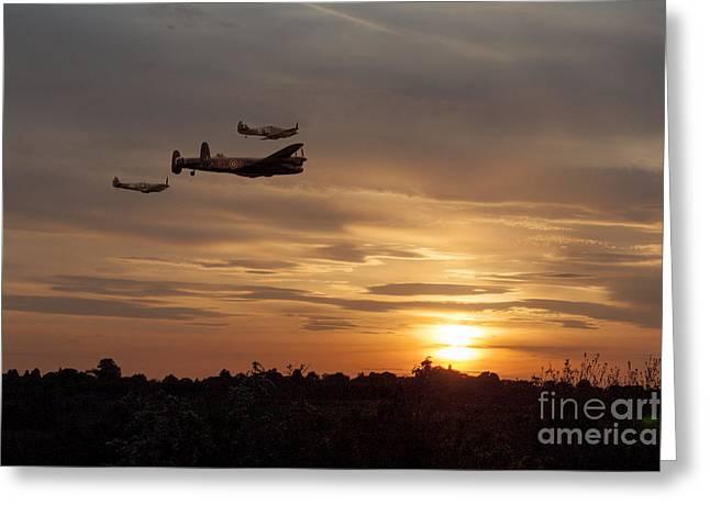 Raf Greeting Cards -  Battle of Britain Memorial Sunset Greeting Card by J Biggadike