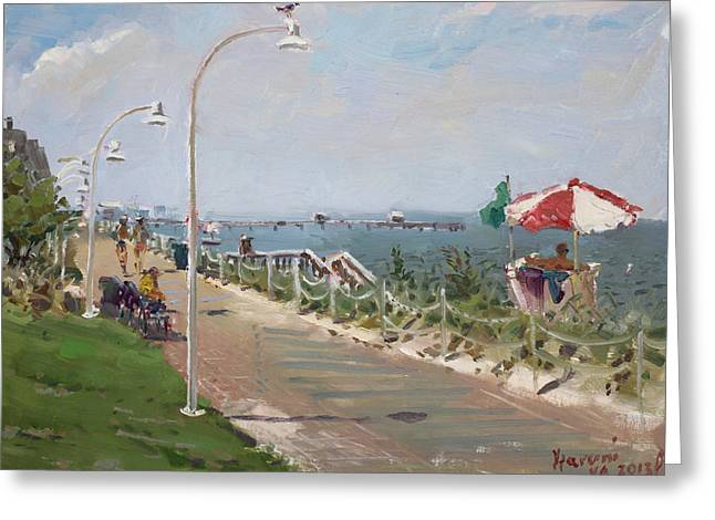 Beach Border Walk In Norfolk Va Greeting Card by Ylli Haruni