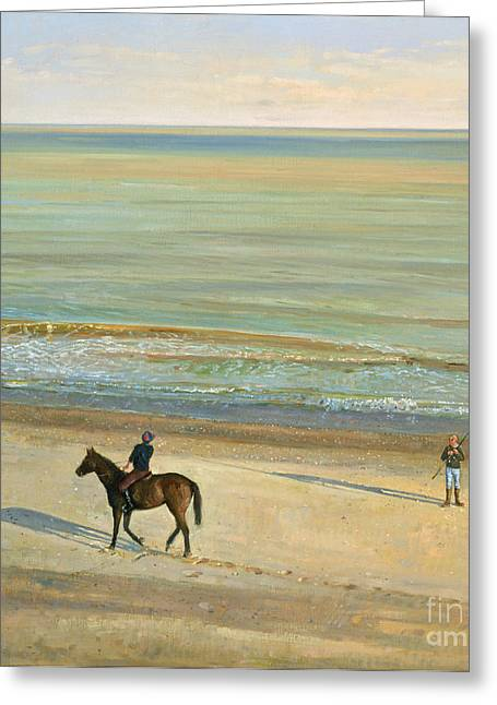 Calm Paintings Greeting Cards -  Beach Dialogue Dunwich Greeting Card by Timothy  Easton