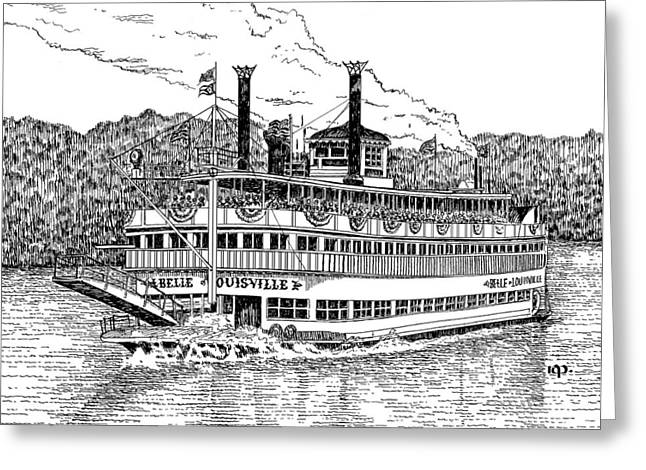 Belles Drawings Greeting Cards -  Belle of Louisville Greeting Card by Robert A Powell