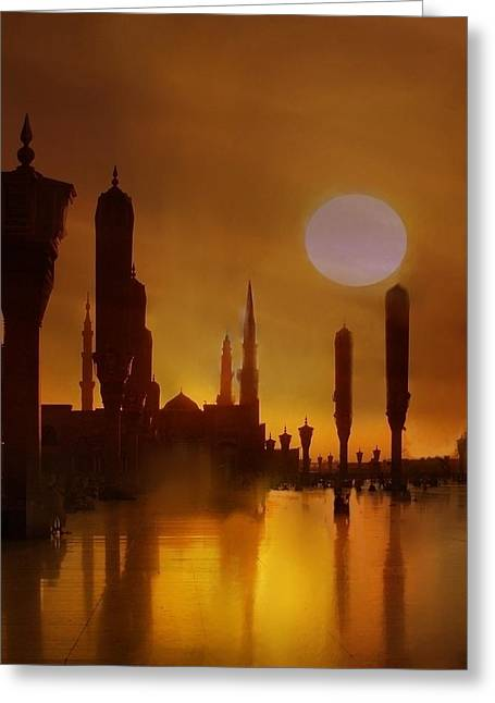 Best Sellers -  - Historical Pictures Greeting Cards -  Beloved Madinah Sunset Greeting Card by Sayyidah Seema Zaidee
