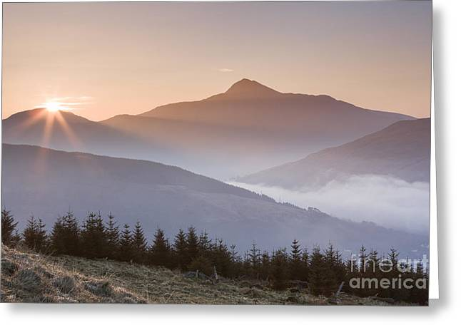 Bute Greeting Cards -  Ben Lomond Sunrise Greeting Card by Rod McLean