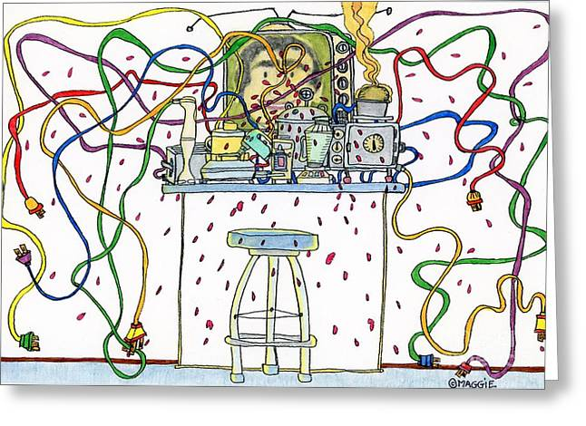Culinary Drawings Greeting Cards -  Berserk Kitchen Gadgets - With Male TV Celebrity Chef Greeting Card by Mag Pringle Gire