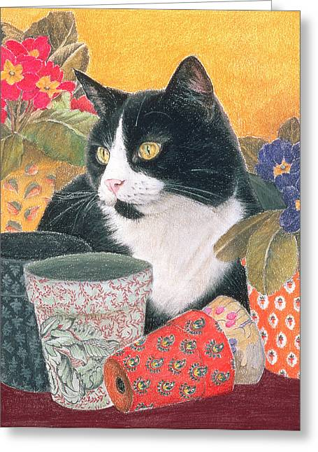 Pussycats Greeting Cards -  Bhajii and Flowerpots Greeting Card by Judy Joel