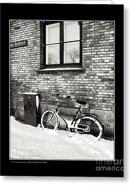 Bicycle Under A Window Greeting Card by Pedro L Gili