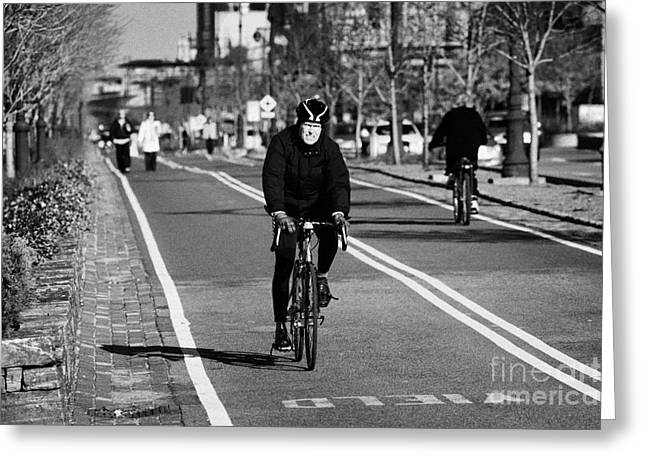 Morning Race Greeting Cards -  bikeway next to West Side Highway new york city manhattan Greeting Card by Joe Fox