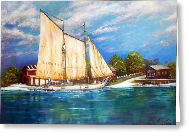 Schooner Greeting Cards -  Biloxi  oyster schooner Greeting Card by Michael Slivka
