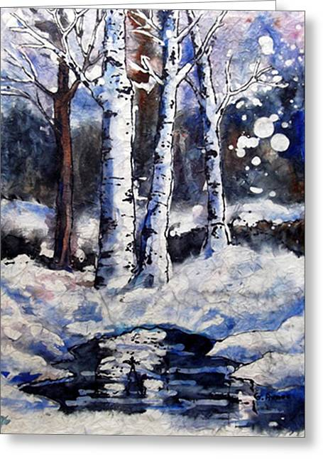 Winter In Maine Greeting Cards -  Birch Dreams II Greeting Card by Gloria Avner