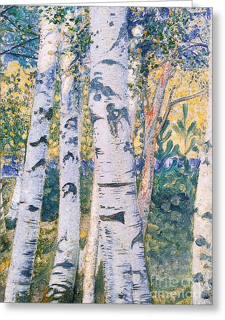 Fall Prints Greeting Cards -  Birch Trees Greeting Card by Carl Larsson
