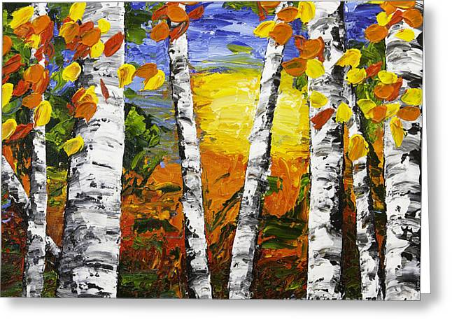 Painted Wood Paintings Greeting Cards -  Birch Trees In Fall Pallete Knife Painting Greeting Card by Keith Webber Jr
