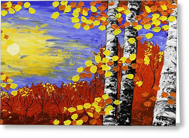 Painted Wood Paintings Greeting Cards -  Birch Trees In Fall Panorama Painting Greeting Card by Keith Webber Jr