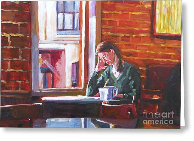 Wall Table Greeting Cards -  Bistro Student Greeting Card by David Lloyd Glover