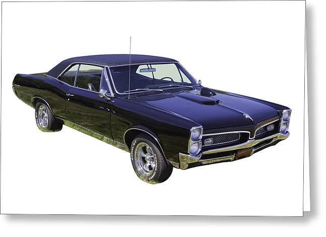 67 Greeting Cards -  Black 1967 Pontiac GTO Muscle Car Greeting Card by Keith Webber Jr