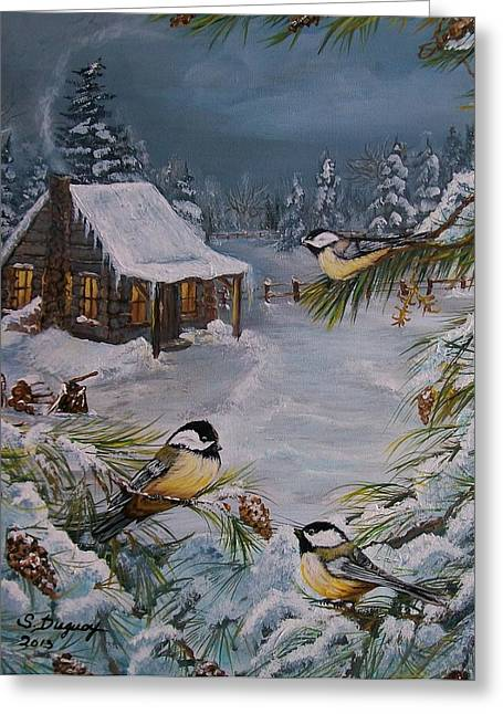 Log Cabins Greeting Cards -  Black Capped   Chickadees  Greeting Card by Sharon Duguay
