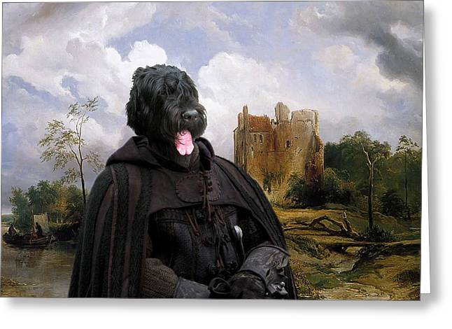 Black Russian Greeting Cards -  Black Russian Terrier Art Canvas Print -  Glory instead of fortune Greeting Card by Sandra Sij