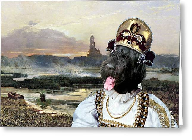 Black Russian Greeting Cards -  Black Russian Terrier Art Canvas Print - Russian girl and landscape with church  Greeting Card by Sandra Sij