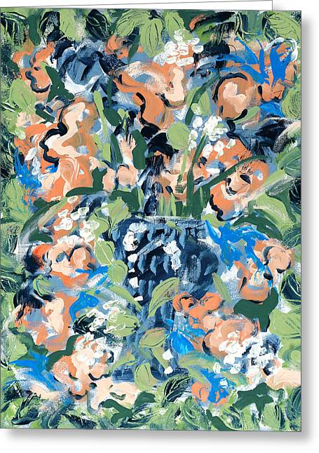 Salmon Paintings Greeting Cards -  Blossoms Greeting Card by Carole Goldman