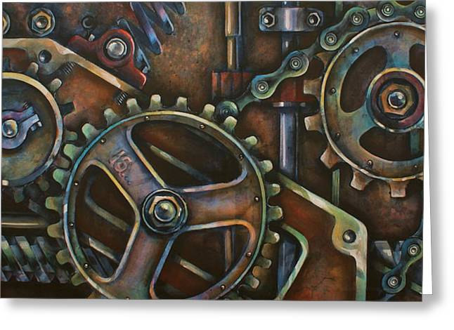 Rivets Paintings Greeting Cards -  Blue Harmony Greeting Card by Michael Lang