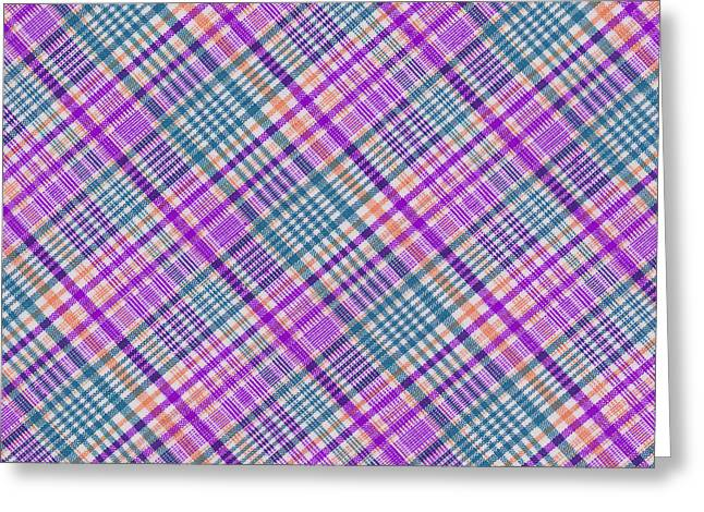 Checked Tablecloths Photographs Greeting Cards -  Blue Purple Orange and White Plaid Design Background Greeting Card by Keith Webber Jr